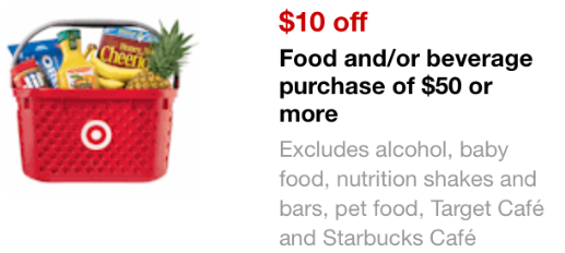 Target coupon: $10 off $50 in groceries