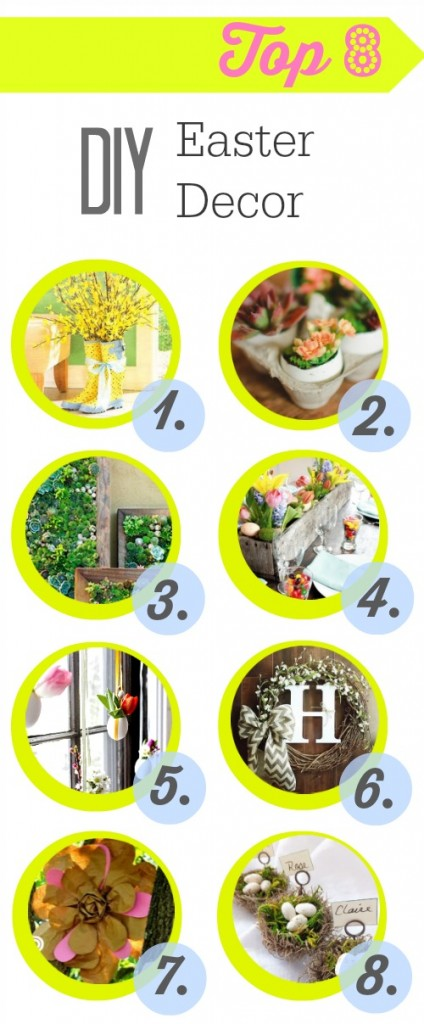 Top 8 DIY Easter Decor projects for your Easter dinners. Or even just a Spring craft!