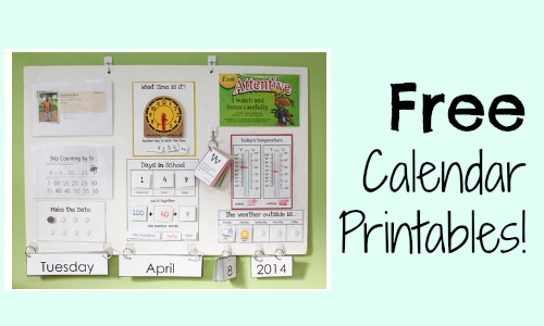 Calendar Board Printables : Homeschool freebies free calendar board printables