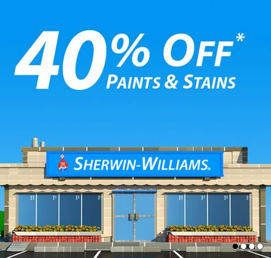 sherwin williams sale 40 off paints and stains 10 off coupon