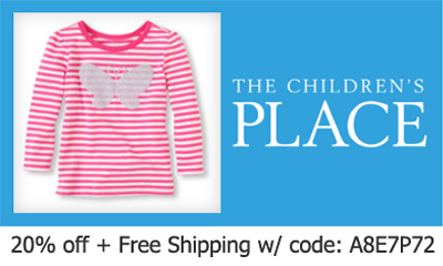 the childrens place coupon code 20 off and free shipping