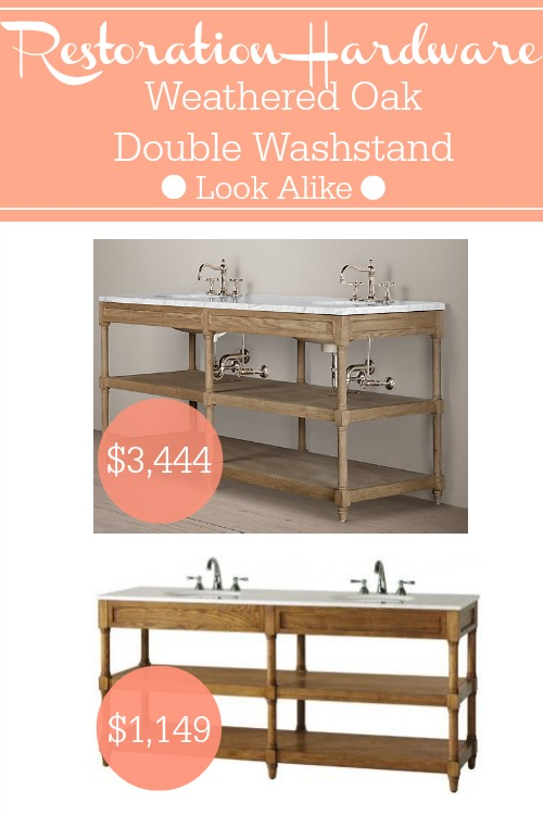 Restoration Hardware Weathered Oak Double Washstand look alike for 67 off at Home Decorators.