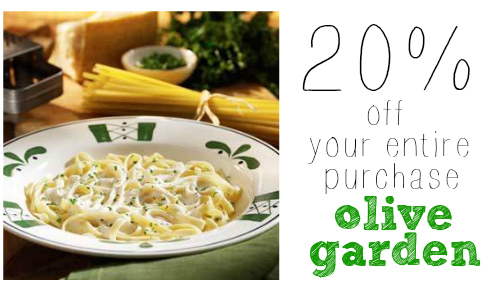 Olive Garden Coupon 20 Off Your Entire Purchase More Dining
