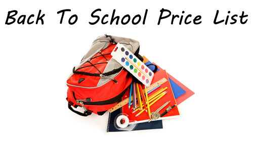 2014 back to school price list