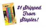 Staples: Bic Highlighters, 5 ct., $1