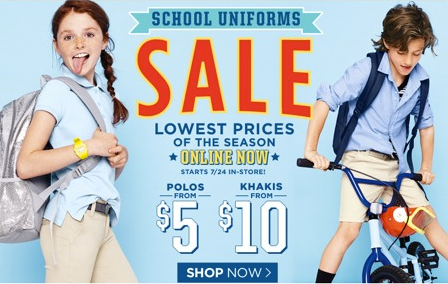 Old Navy is running a fun Uniform Sale online and in-store right now ...