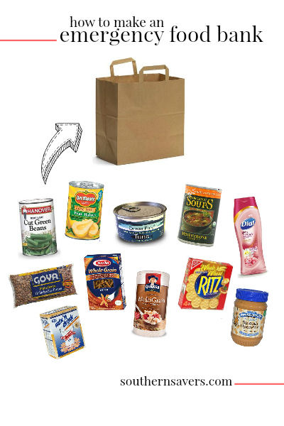 You can coupon to help families in need! Fill a brown grocery bag to create an individual emergency food bank that will feed a family for four days!