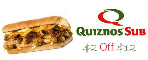 Quiznos Dining Deal: $2 Off $12 Purchase