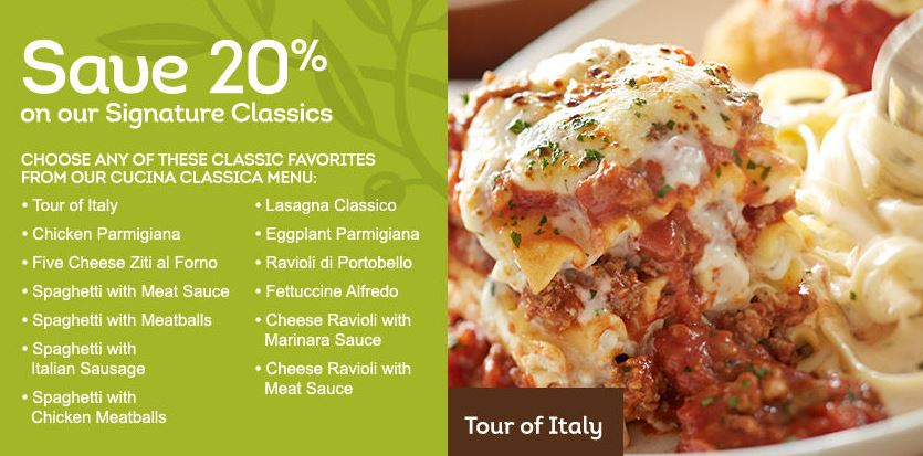 Olive Garden Coupon: 20% Off Signature Classics + More Dining Deals ...