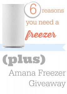 Reasons why you need a freezer to help you save money.  Plus  An Amana Freezer giveaway!