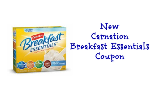 "Save $ off 2 Carnation Essentials Breakfast Printable Coupon! You can also have this coupon mailed to your home by clicking the ""help"" link at the bottom right side of the printable coupon page. Click here to see how to have coupons mailed to your home."