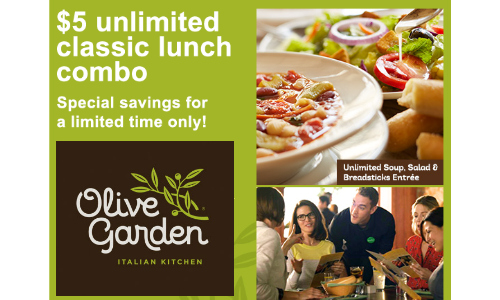 Olive Garden 5 Unlimited Lunch Combo More Dining Deals