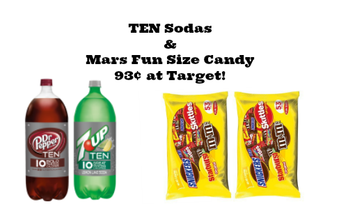 target cartwheel TEN sodas and mars candy