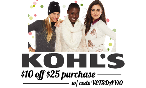 kohls vets day coupon code