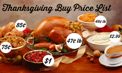 thanksgiving buy price list
