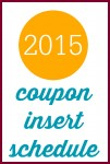 2015 Sunday Coupon Insert Schedule