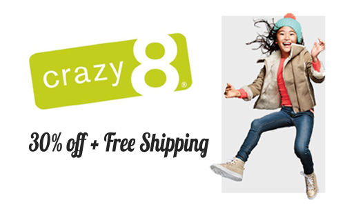 crazy 8 30 off  and free shipping