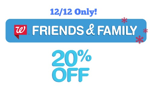 walgreens friends and family 20 off