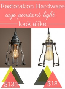 Here's a Restoration Hardware Industrial Cage Filament Pendant Light Look Alike for over $100 off.
