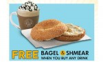 Einstein Bros Coupon   FREE Bagel and Shmear with Drink Purchase
