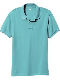 Men's New Short-Sleeve Pique Polos - Big Island Blue