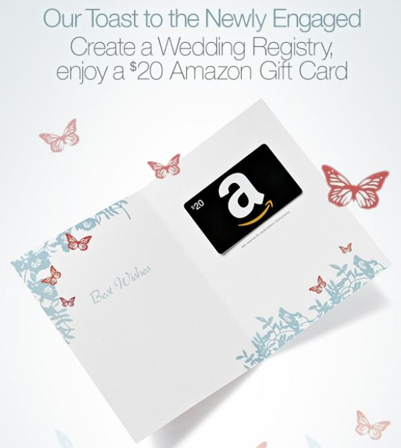 Amazon deal free 20 amazon gift card with registry for When do you register for wedding gifts