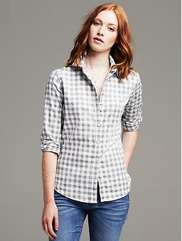 Soft-Wash Gingham Flannel Shirt - Gray literature
