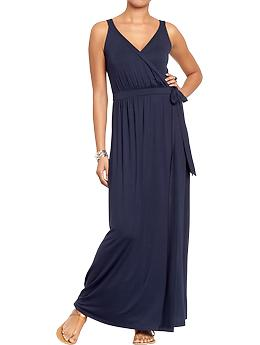 Women's Cross-Front Maxi Dresses - In The Navy