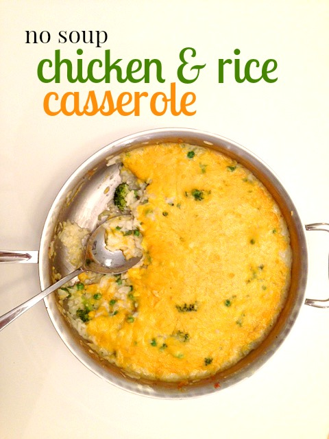 This chicken and rice casserole is flavorful, creamy, and perfect for a family dinner. Plus, it's soup-free!