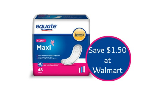 equate maxi pads coupon walmart