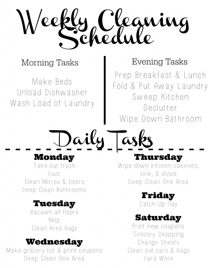 Weekly Cleaning Checklist Template Free Weekly Cleaning Schedule