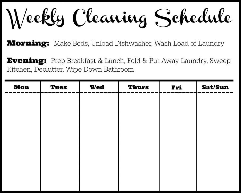 It's just a picture of Fan Free Printable Cleaning Schedule Template