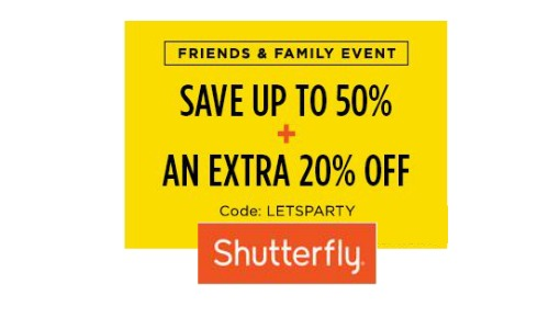 shutterfly friends and family sale