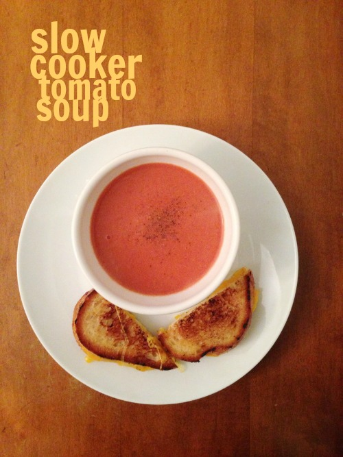 This slow cooker tomato soup is super easy. Add the ingredients to your slow cooker and you'll have a warm and comforting dinner in a few hours.