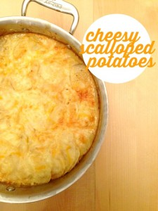 This is my quick and easy version of scalloped potatoes. It goes well with basically any meat and is great to bring to potluck dinners.