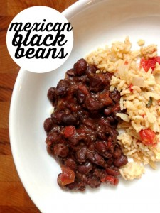 These Mexican black beans are quick and easy and great as a side dish or for filling a tortilla to make a vegetarian taco.