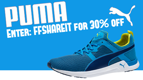 PUMA is taking am extra 40% off regular priced Shoes and Gear or an extra 25% off sale items during their Friends and Family Sale with Coupon Code: