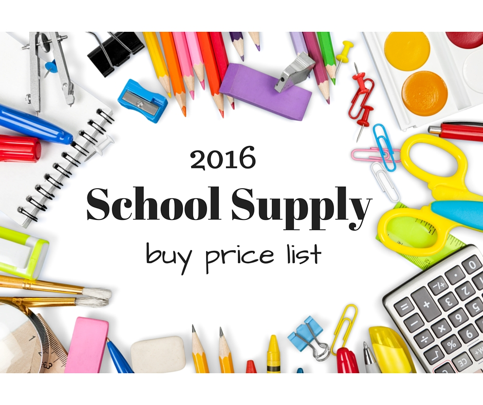 2016 school supply buy price