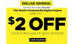 Dollar General eCoupon | $2 Off $2.01 Purchase