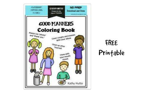 Free Manners Coloring Book Southern Savers