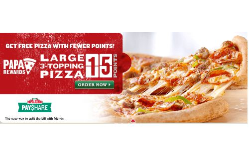 papa johns rewards code