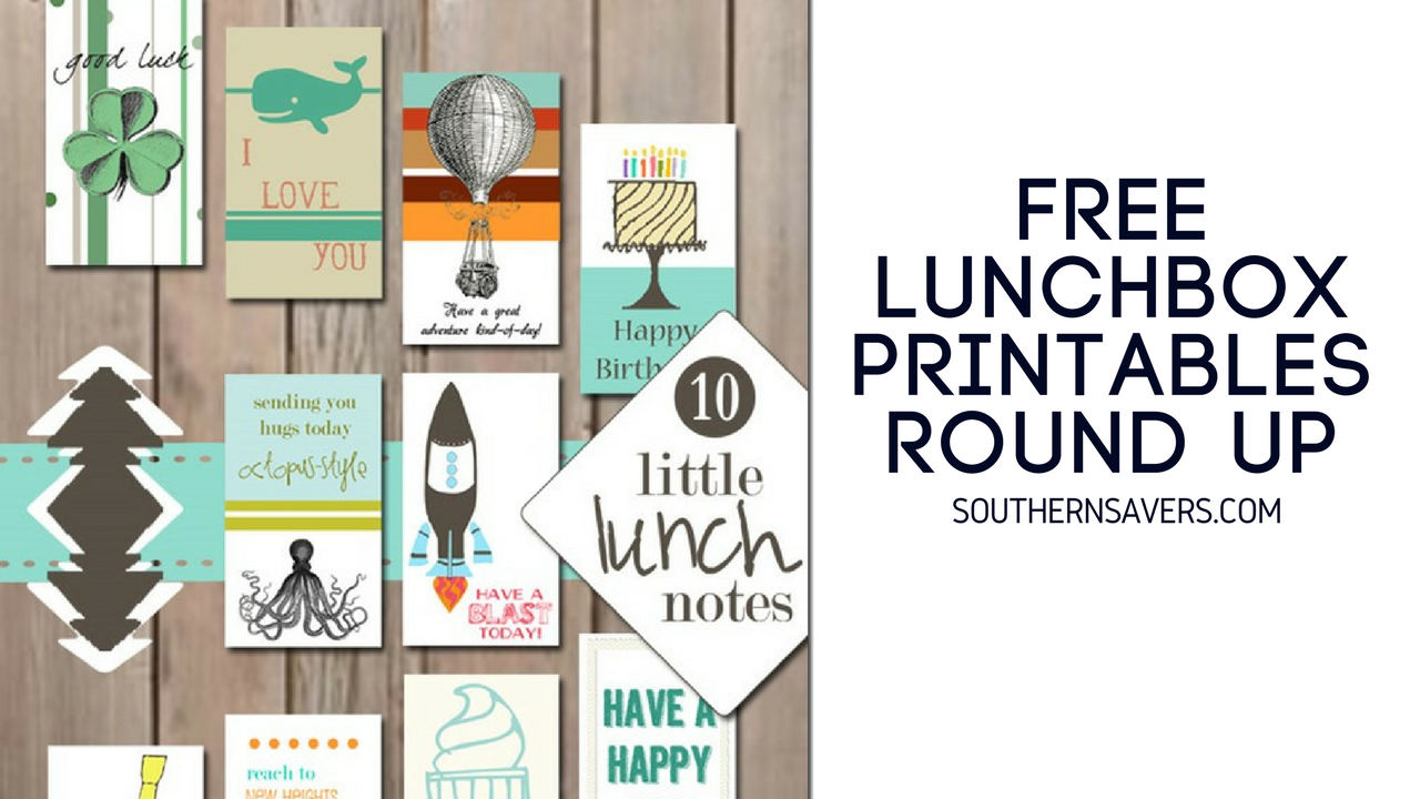 graphic about Printable Lunchbox Notes named 5 Printable Lunch Box Notes Options :: Southern Savers