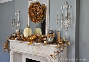 Natural neutral French country fall mantel idea