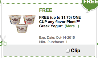 free plenti yogurt coupon