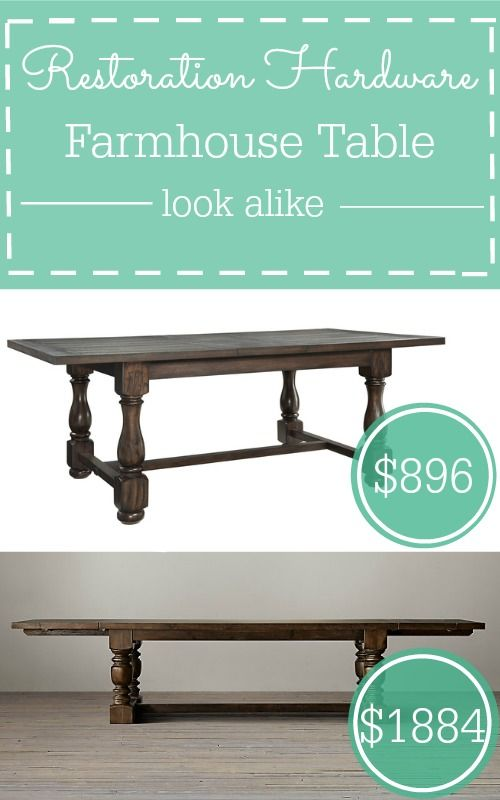 Restoration Hardware has a French farmhouse table that I love, but I'm going for the look alike that's almost half the price!