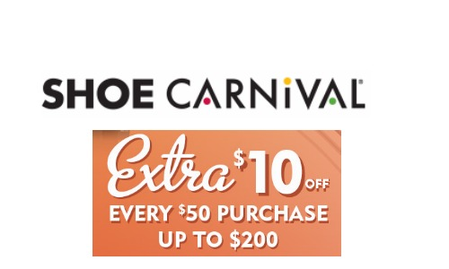 graphic about Shoe Carnival Coupon Printable titled Shoe Carnival Coupon $10 Off $50 + Excess Coupon codes