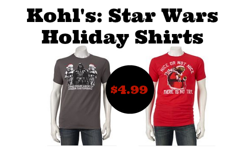 here is an out of this world deal at kohls for any star wars fan you can pick up a holiday star wars t shirt for 499 reg 14