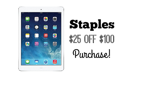 Staples: $25 Off $100 Online Purchase