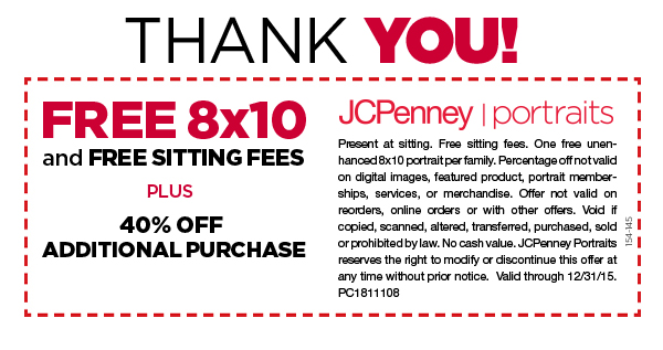 What is the biggest saving you can make on JCPenney Portrait? The biggest saving reported by our customers is $ How much can you save on JCPenney Portrait using coupons? Our customers reported an average saving of $ Is JCPenney Portrait offering free shipping deals and coupons? Yes, JCPenney Portrait has 1 active free shipping offer.