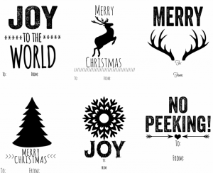 photograph about Printable Christmas Tags Black and White titled Cost-free Xmas Printables :: Southern Savers
